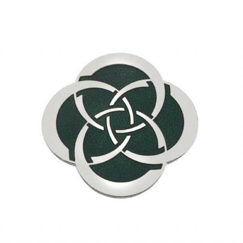 Celtic Slim Knot Brooch Silver Plated Green Brand New Gift Packaging
